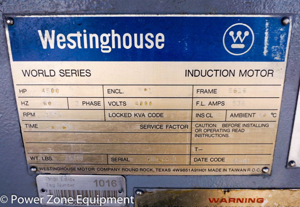 Used 4500 HP Horizontal Electric Motor (Westinghouse) For